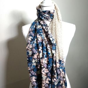 UO Pins and Needles Scarf Floral With Crochet Lace